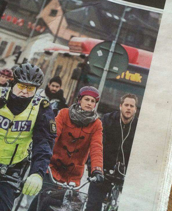 Cyklister vid Skeppsbron